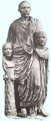 A Roman with busts of his ancesters   - first century B.C.